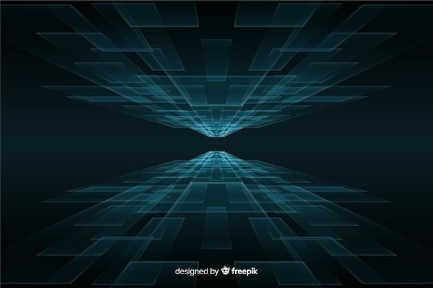 Fondo de horizonte futurista con luces azules vector gratuito