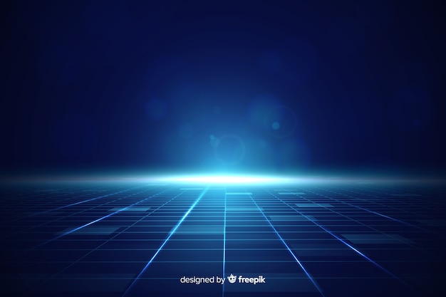 Fondo de horizonte futurista con luz azul vector gratuito