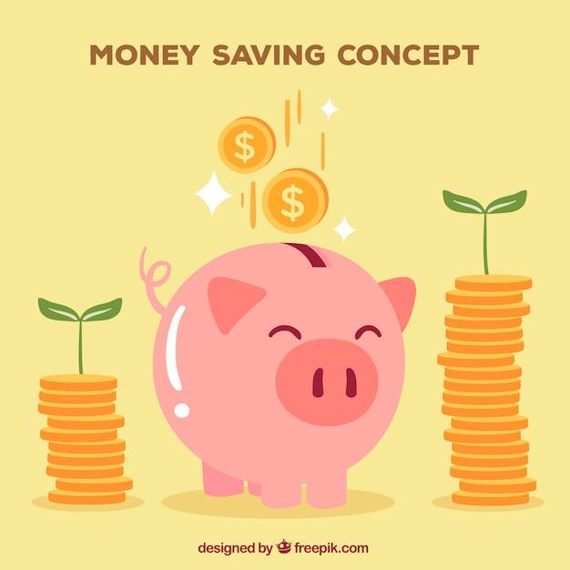 Fondo de hucha de cerdito feliz con monedas vector gratuito