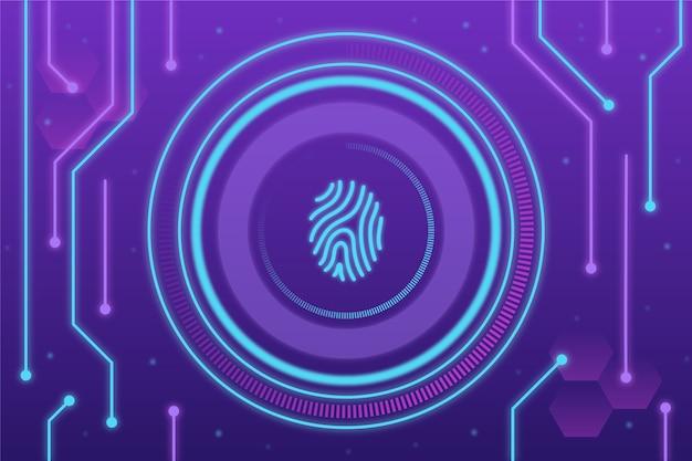 Fondo de huella digital de neón púrpura y azul vector gratuito