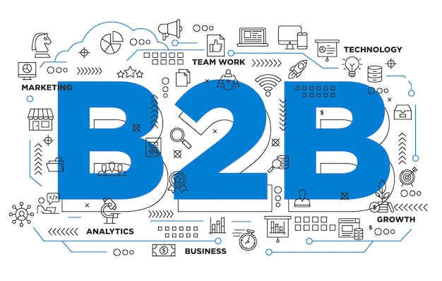Fondo icónico de negocio a negocio b2b | Descargar Vectores