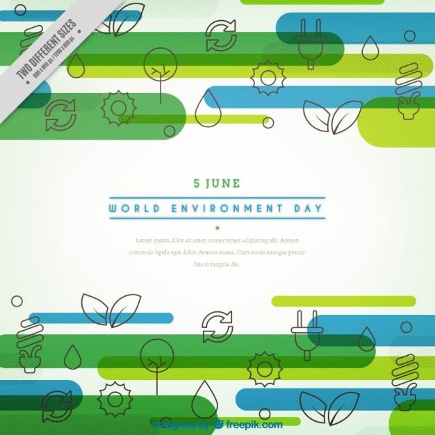 Fondo con iconos del día internacional del medioambiente vector gratuito