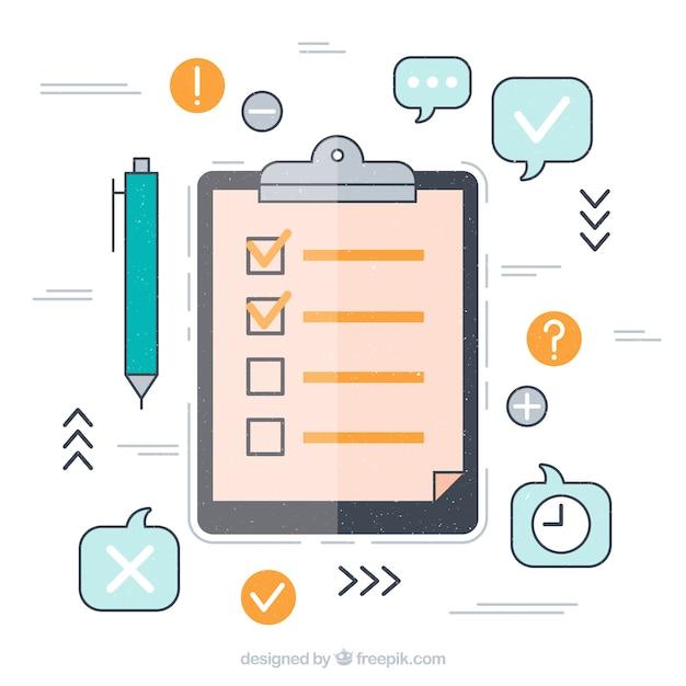 Fondo de iconos y lista de elementos en diseño plano Vector Premium
