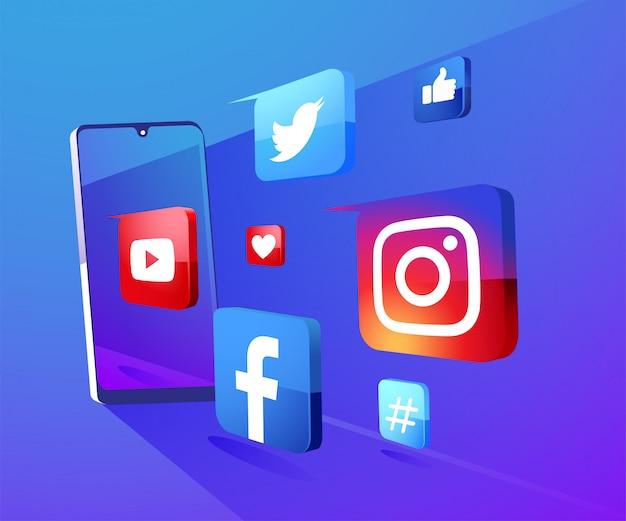 Fondo de iconos de redes sociales 3d con ilustración de teléfono inteligente Vector Premium