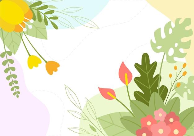 Fondo de ilustración floral de flor botánica de primavera dibujada a mano Vector Premium