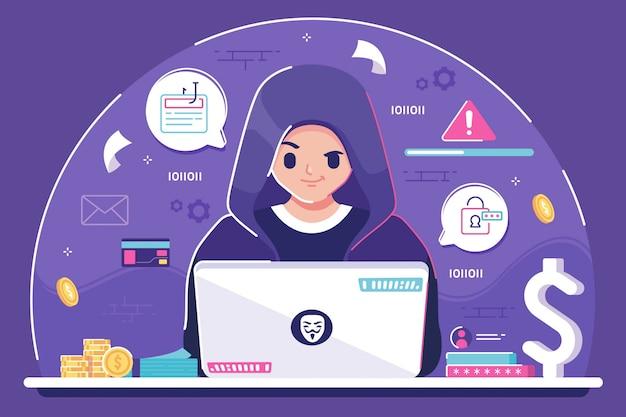 Fondo de ilustración de hacker Vector Premium
