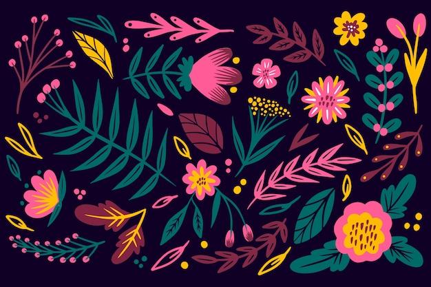 Fondo de impresión floral ditsy colorido vector gratuito