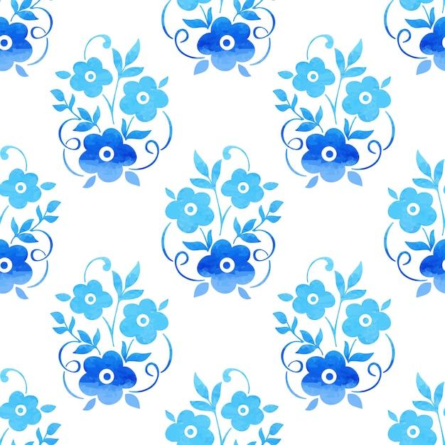 Fondo inconsútil del modelo de la flor de la acuarela. textura elegante para los fondos. vector gratuito