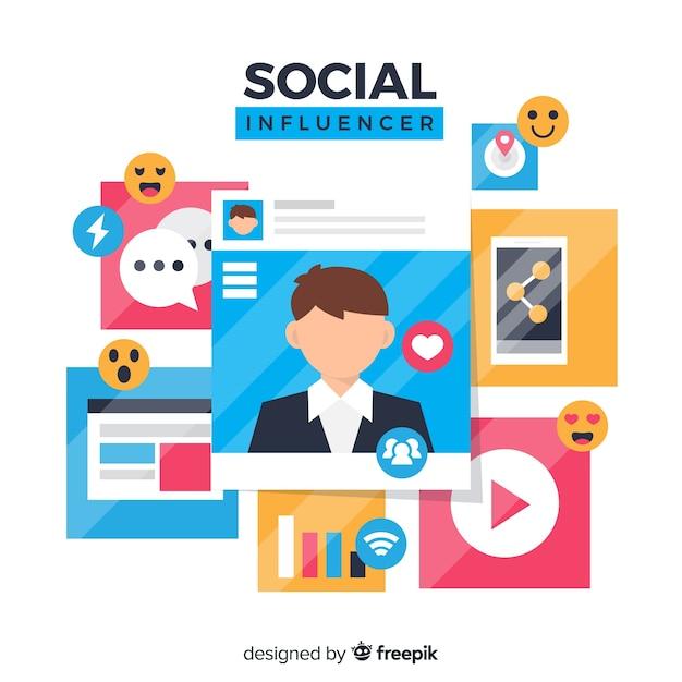 Fondo de influencer en redes social vector gratuito