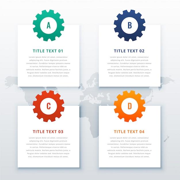 Fondo infografía engranajes con cuatro pasos. vector gratuito