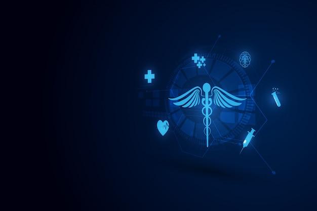 Fondo de innovación en tecnología médica. Vector Premium
