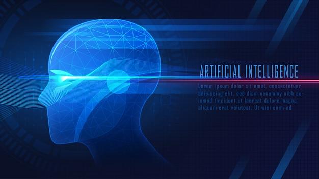 Fondo de inteligencia artificial futurista. Vector Premium
