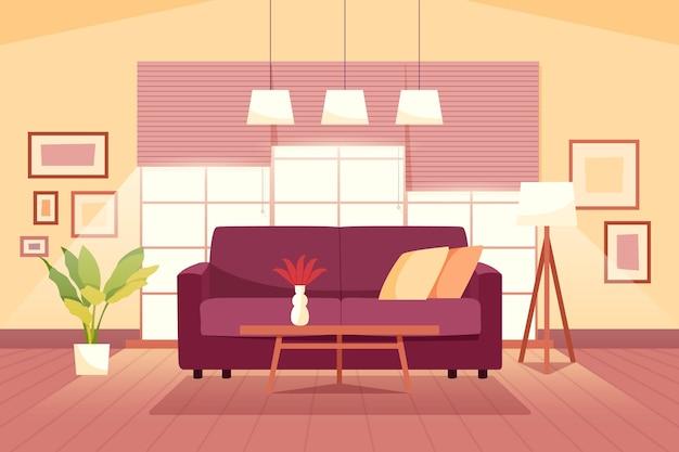 Fondo interior casero para videoconferencia vector gratuito