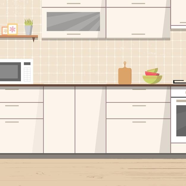 Fondo interior de cocina blanco con muebles y estufa. | Descargar ...