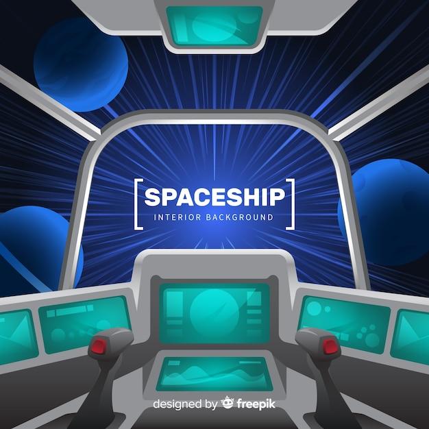 Fondo de interior de nave espacial con diseño plano vector gratuito