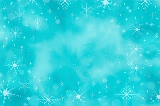 Fondo de invierno en acuarela azul vector gratuito