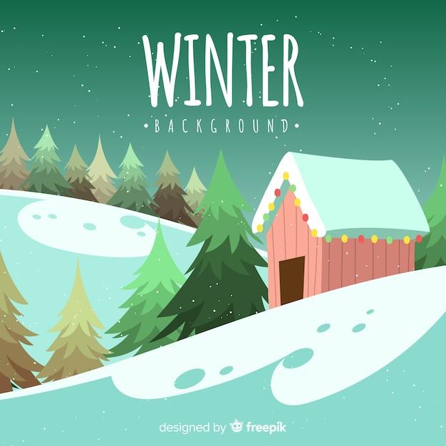 Fondo invierno cabaña rodeada de árboles vector gratuito