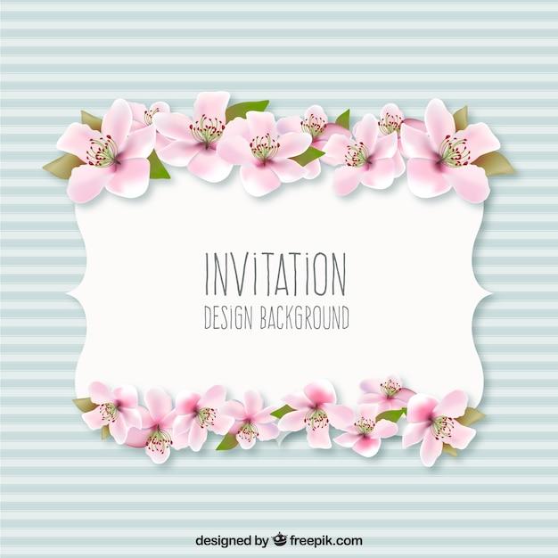 Fondo invitación con flores | Descargar Vectores gratis