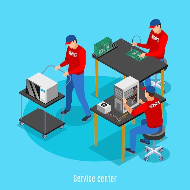 Fondo isométrico del centro de servicio con vista de personas que realizan reparaciones de equipos informáticos y productos electrónicos de consumo vector gratuito