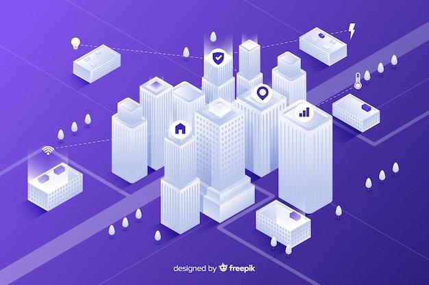 Fondo isométrico ciudad futurista vector gratuito