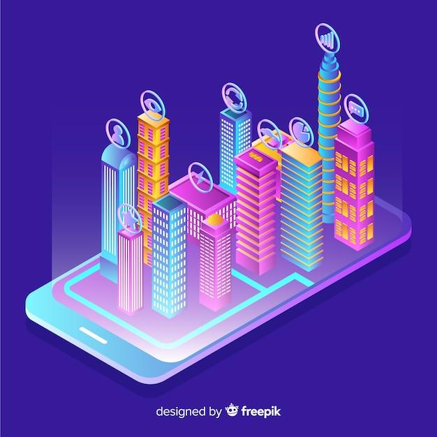 Fondo isométrico ciudad inteligente vector gratuito