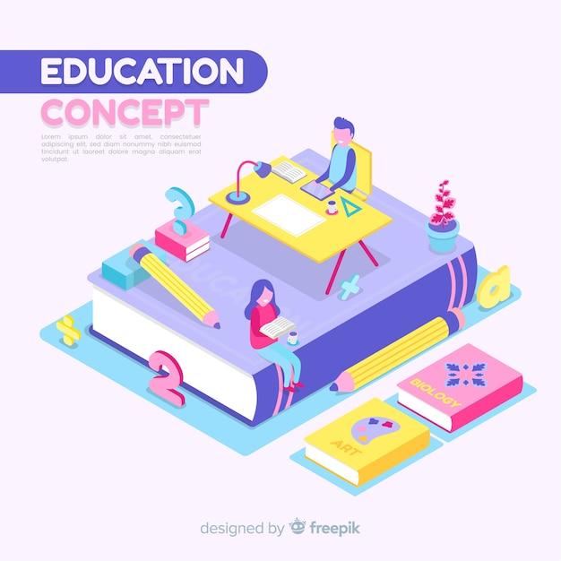 Fondo isométrico concepto de educación vector gratuito
