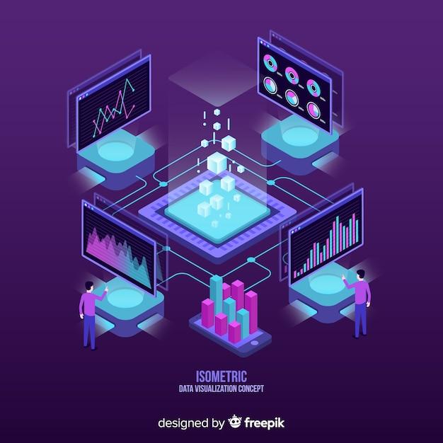 Fondo isométrico concepto de visualización de datos vector gratuito