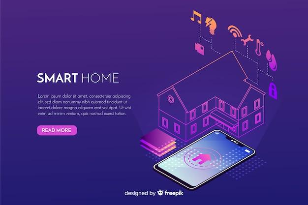 Fondo isométrico degradado de casa inteligente vector gratuito