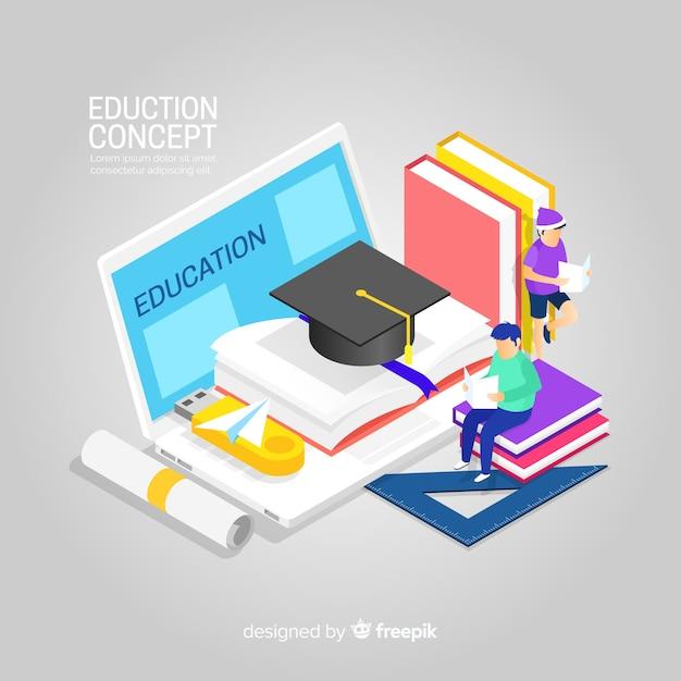 Fondo isométrico de educación vector gratuito