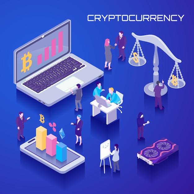 Fondo isométrico de moneda virtual vector gratuito
