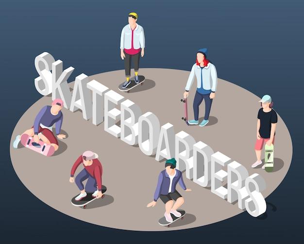 Fondo isométrico de skaters vector gratuito