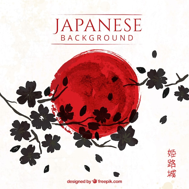 Fondo japonés artístico con flores Vector Premium