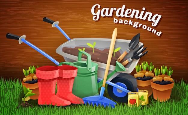 Fondo de jardinería colorido con herramientas de granja vector gratuito