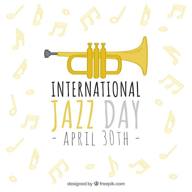 Fondo de jazz con trompeta y notas musicales vector gratuito