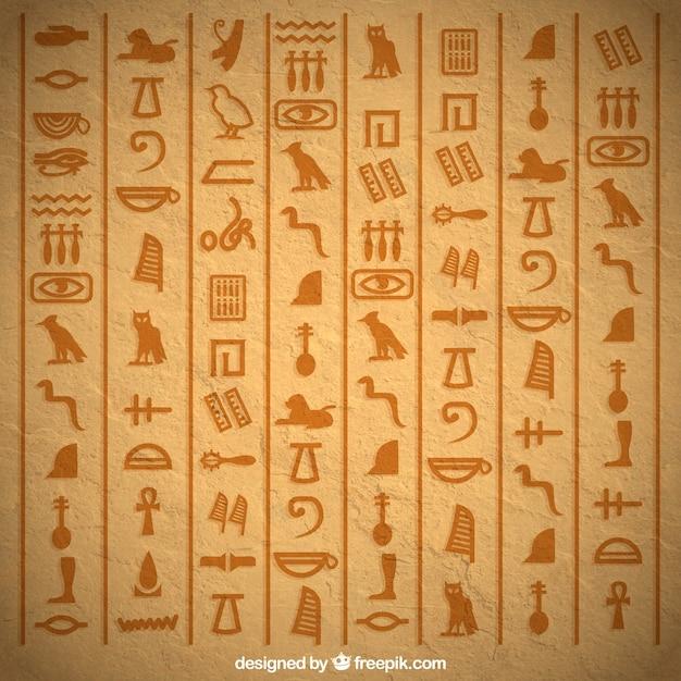 Fondo de jerogíficos egipcios con diseño plano vector gratuito