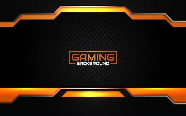 Fondo de juego abstracto futurista negro y naranja Vector Premium