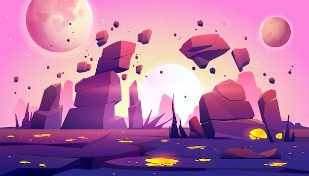 Fondo de juego espacial con paisaje del planeta vector gratuito