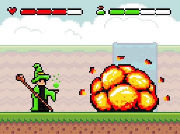 Fondo de juego de pixel art con asistente y explosión. escena con plataformas de tierra, bang, cascada en la niebla, cielo nublado, bomba y mago con palo Vector Premium