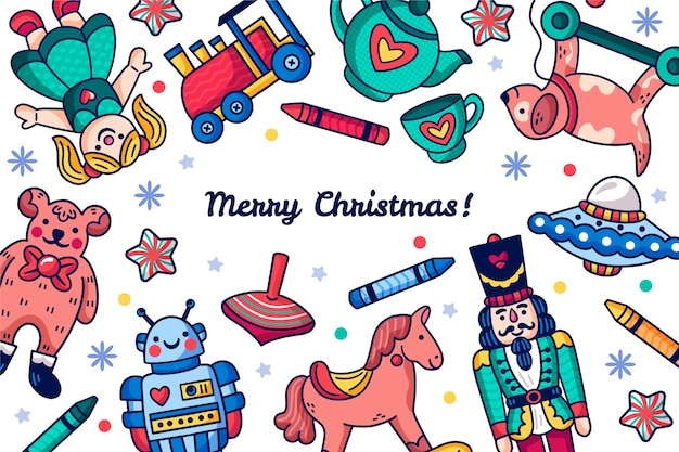 Fondo de juguetes de navidad dibujados a mano vector gratuito