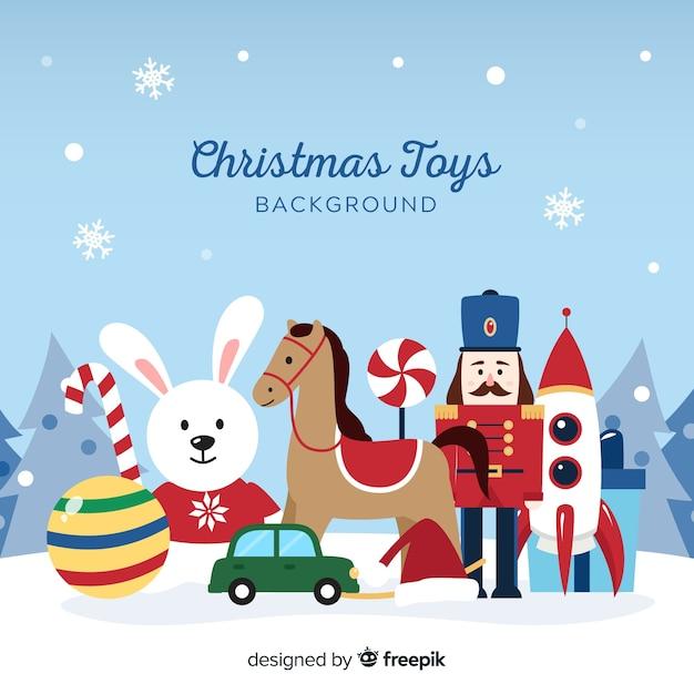 Fondo de juguetes navideños vector gratuito