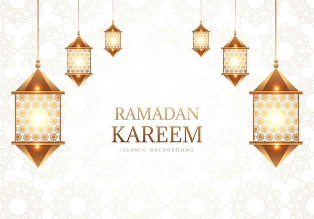 Fondo de lámparas árabes decorativas de ramadán kareem vector gratuito