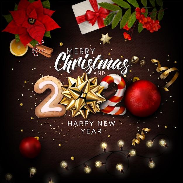 fondo de letras con elementos de navidad y ano nuevo 2020 vector premium https www freepik es profile preagreement getstarted 6192590