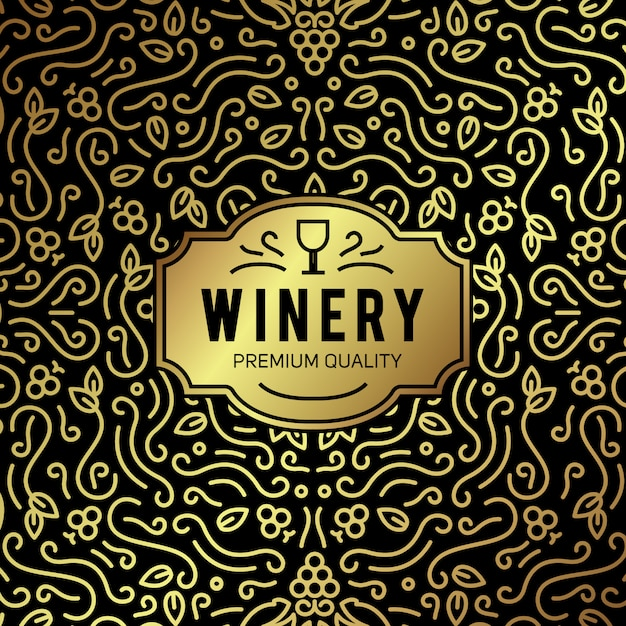 Fondo de letras vintage de copa de vino y uvas vector gratuito
