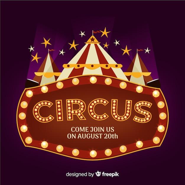Fondo de letrero luminoso de circo vintage vector gratuito