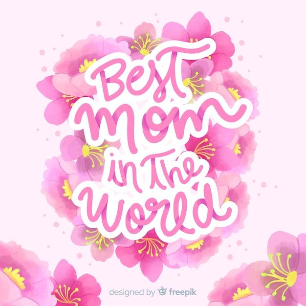Fondo lettering floral día de la madre vector gratuito