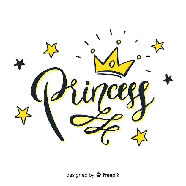 Fondo lettering princesa vector gratuito