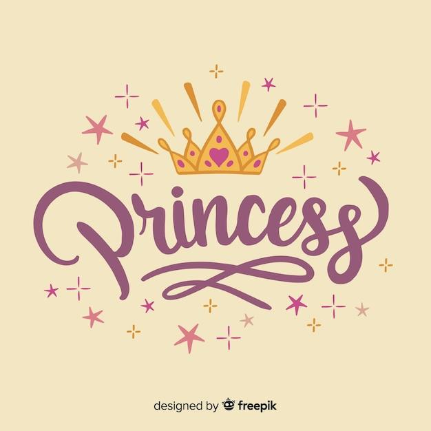 Fondo de lettering de princesa vector gratuito