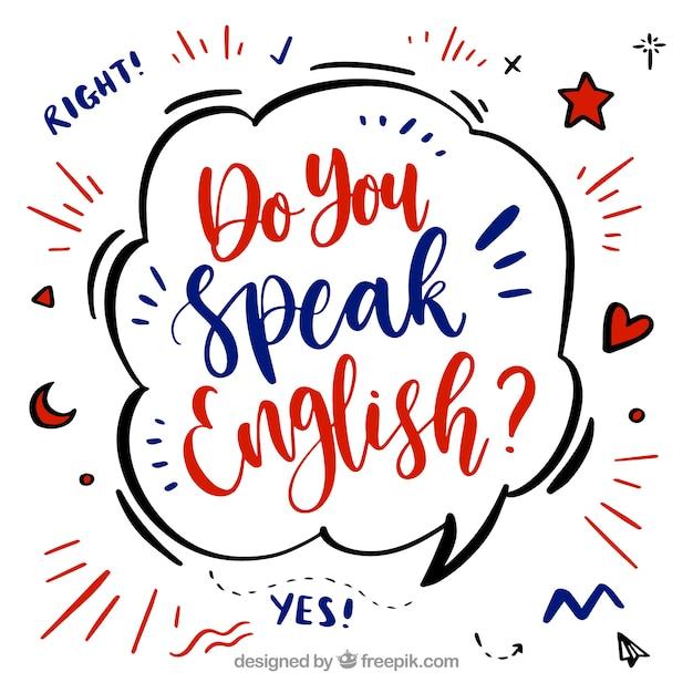 Fondo de lettering de usted habla inglés vector gratuito