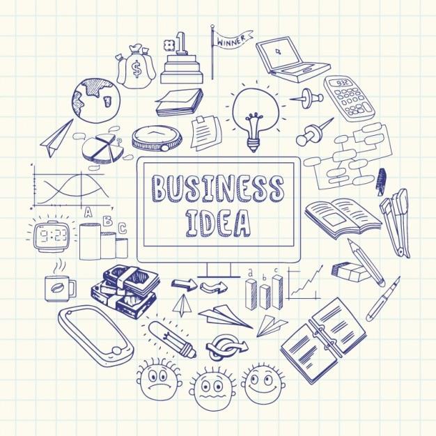 Fondo de libreta con objetos de negocios Vector Premium