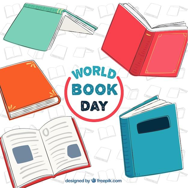 Fondo de libros dibujados a mano vector gratuito